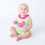 Applique Flamingo Girls Romper
