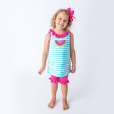 Applique Watermelon Girl's Short Set