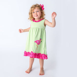 Applique Flamingo Girl's Dress