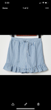 Chambray Denim Striped Shorts