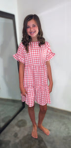 Pink Gingham Check Dress