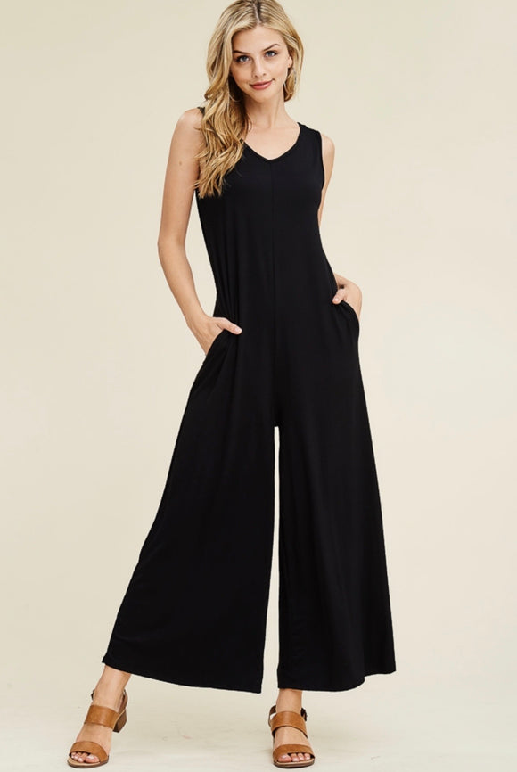 Sleeveless Solid Black Jumpsuit with Pockets