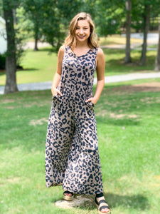 Sleeveless Animal Print Jumpsuit with Pockets RESTOCK early August