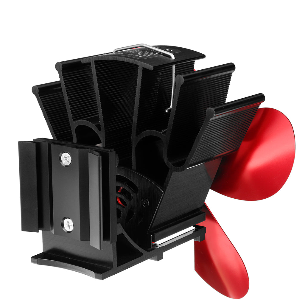4 Blades Stove Fan Wall Mount Fireplace Heat Powered