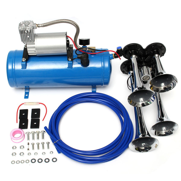 Air Train Chrome Horn Trumpet Vehicle Blue Compressor Tubing