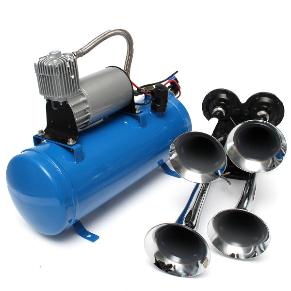 Air Train Horn Trumpet Vehicle Blue Compressor Tubing