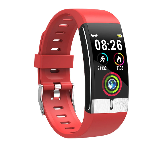 Red Fitness Tracker Blood Pressure and Heart Rate Monitor Smart Watch