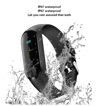 Black Watch Smart Band Waterproof Blood and Heart Rate