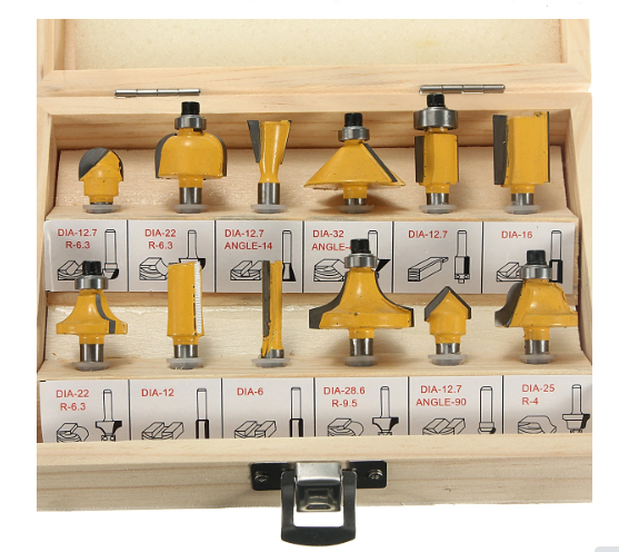 Woodworking Shank Router Bit Set 1/4 Inch Cutters Rotary Tool Kit