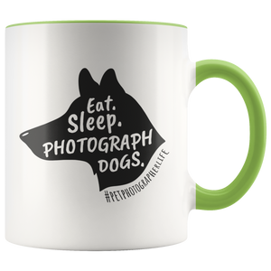 Eat. Sleep. Photograph Dogs. Accent Color Mug