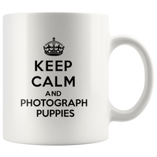 Load image into Gallery viewer, Keep Calm and Photograph Puppies Accent Mug