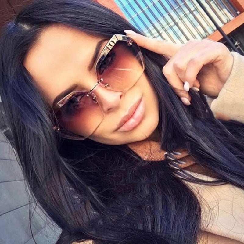 BRAND DESIGN Luxury Polarized Sunglasses Men Women Driving Rimless Sun Glasses UV400 Male Retro Gradient Glasses Gafas De Sol