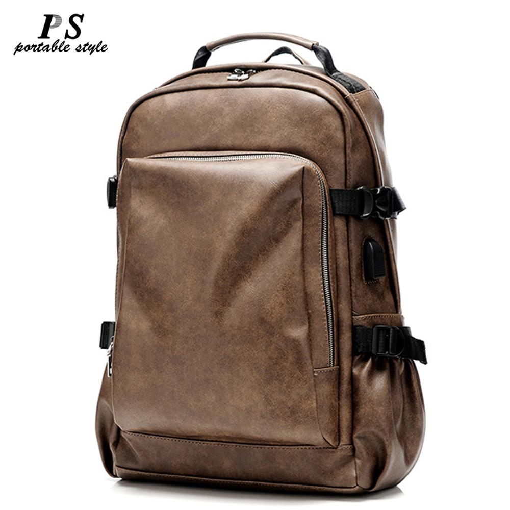 Vintage Laptop100% Genuine Leather Backpacks for School Bags Men  Travel Leisure Backpacks Retro Casual Bag Schoolbags Teenager