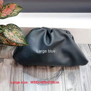 38cmBig Leather Pouch Handbag Women Soft Hand Purse Fashion Clutch Bag Evening Party Purse Bag Women Large Ruched Cloud Bag
