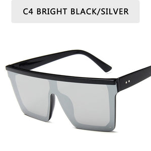 15 colors Flat Top Sunglasses Men Women Brand Designer Square Shades Gradient Sun Glasses Men Cool One Piece UV400 Mirror