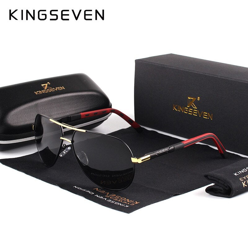 KINGSEVEN Men's Vintage Aluminum Polarized Sunglasses Classic Brand Sunglasses Coating Lens Driving Eyewear For Men/Women