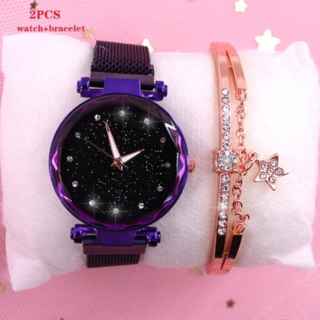 Exciting New brand Starry Sky Women Watch Fashion Elegant Magnet Buckle Vibrato Purple Gold Ladies Wristwatch Luxury Women Watches