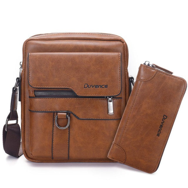 "Fashion Men Shoulder Bag for 10.5"" ipad Men PU Leather Flaps Men's Crossbody Bags Business Brown Flap Male Solid Messenger Bag"