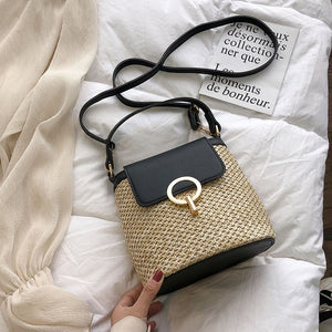 Small Straw Bucket Bags For Women Summer Crossbody Bags Ladies Travel Purses and Handbags Female Shoulder Messenger Bag