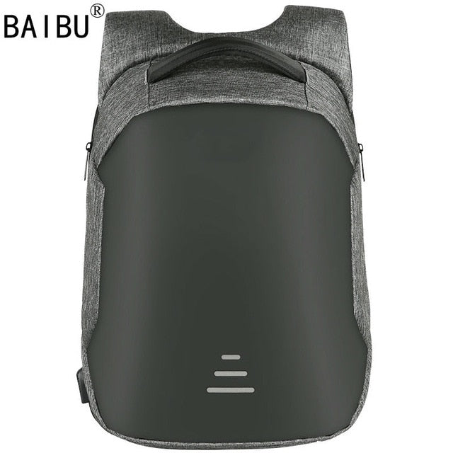 "BAIBU Men bag USB Charging Backpack Headphone plug Anti-theft 15.6"" Laptop Backpack waterproof Business Large Travel bag"