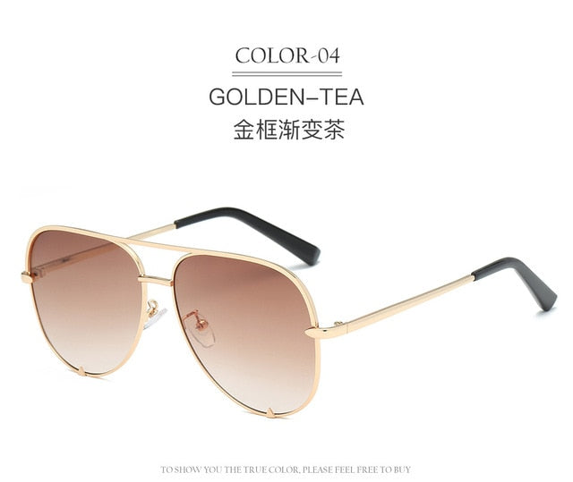 Classic Pilot Sunglasses Women Luxury Brand Designer Glasses Elegant Mirror Aviation Sun Glasses Metal Frame Oculos Aviador