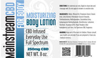 Mainstream CBD's Hand and Body Lotion is ultra hydrating while giving your skin the nutrients it needs from cocoa butter, shea butter, terpene rich CBD hemp oil, and many other natural nourishing oils.