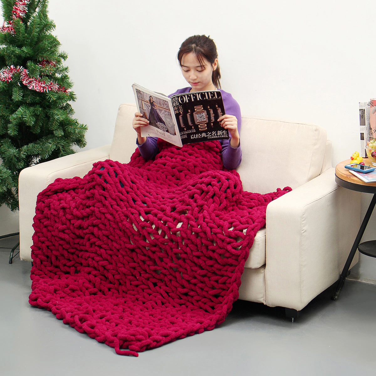 KnitQueen™ 100x150cm Handmade Knitted Cotton Throw Blankets - Soft Washable Lint-free!