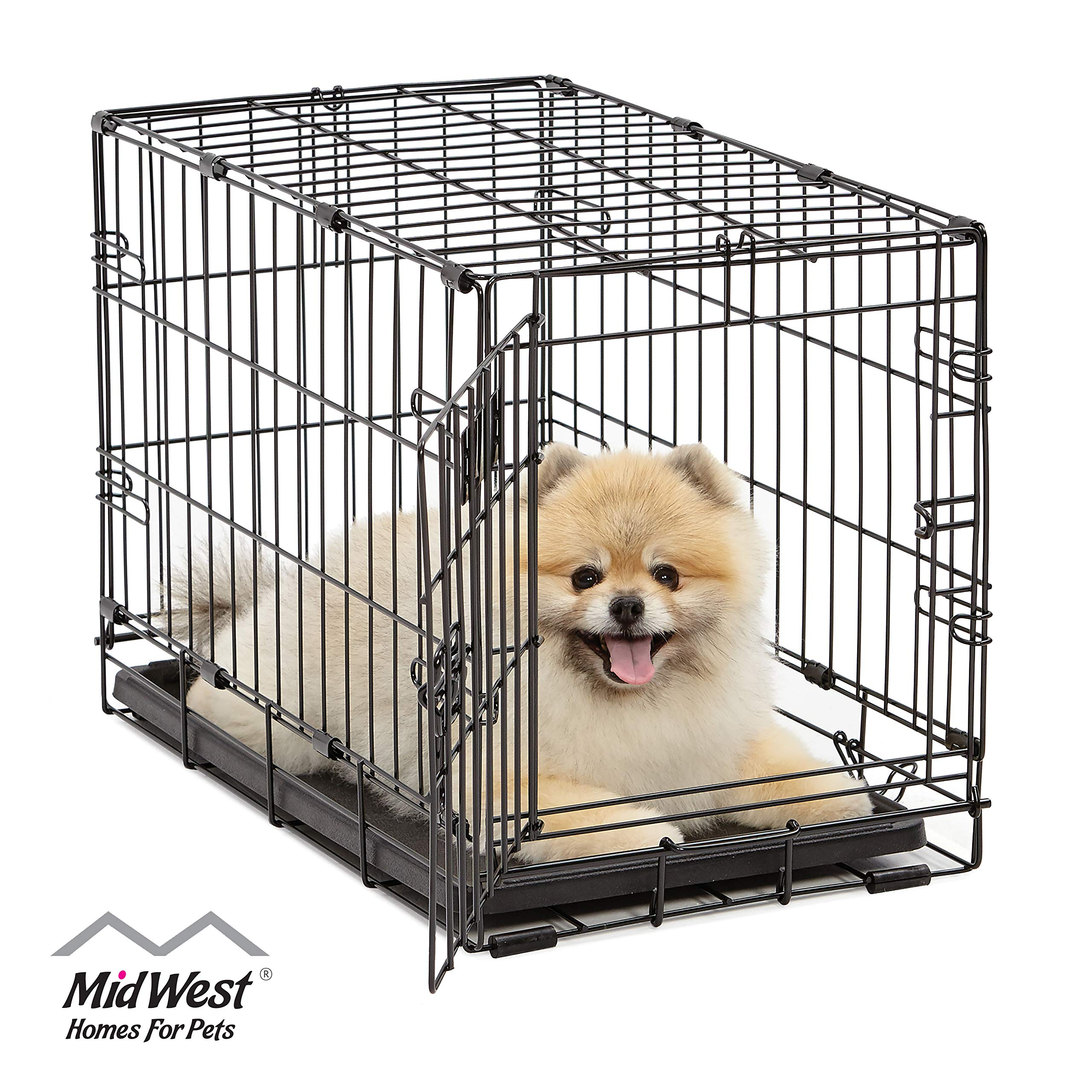 Small Dog Cage iCrate Single Door Portable Dog Crate Small Kennel - 24-inches