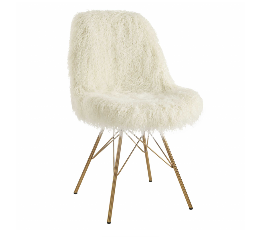 Ellaiin™ Faux Fur White Designer Chair Upholstered Accent Chair With Angled Legs, White And Gold