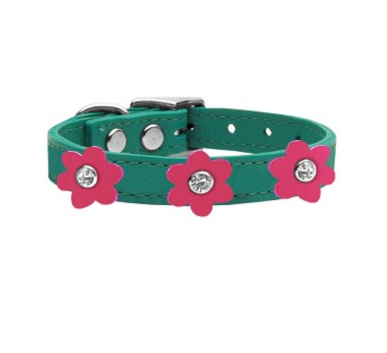 DawX™ Leather Dog Collar with Genuine Leather in Jade with Pink Flowers
