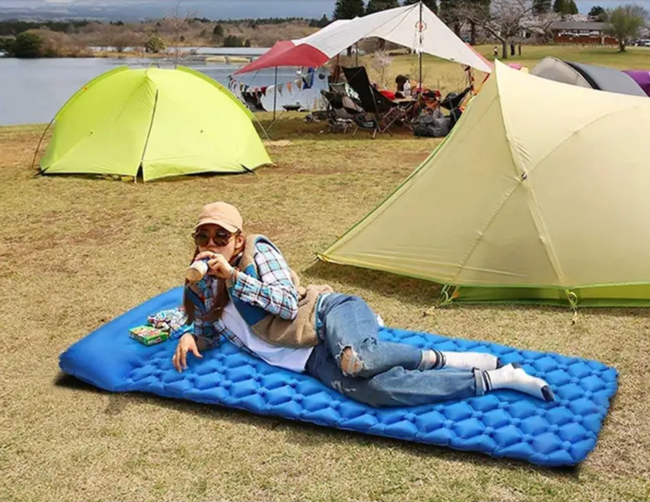 CampX™ Camping Mattress, Portable Self Inflating Camping Mat with Pillow for 1 Person, Perfect for Trekking