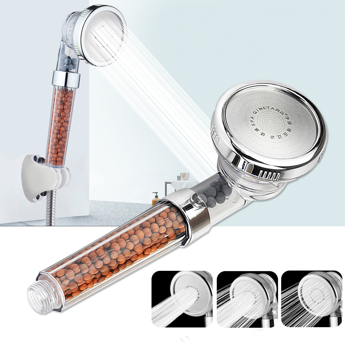 High Pressure Shower Head with 3 Modes; Handheld Adjustable Stone Stream Shower Head