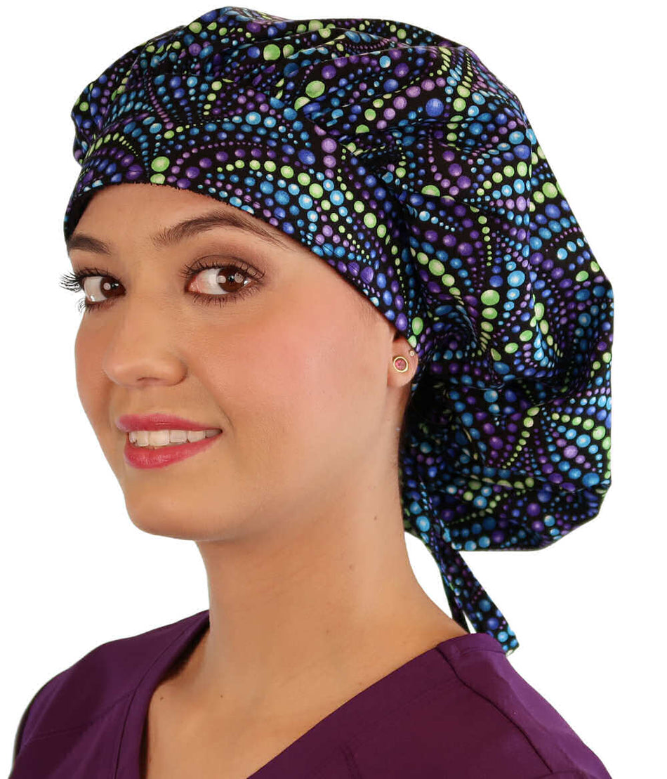 Banded Bouffant Surgical Scrub Cap - Explosion of Colors Blue, Purple & Green