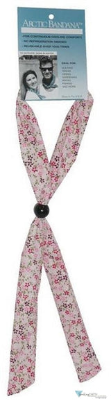 Arctic Bandana-Small Daisies Pink Red & White On Neck Cooling Ties