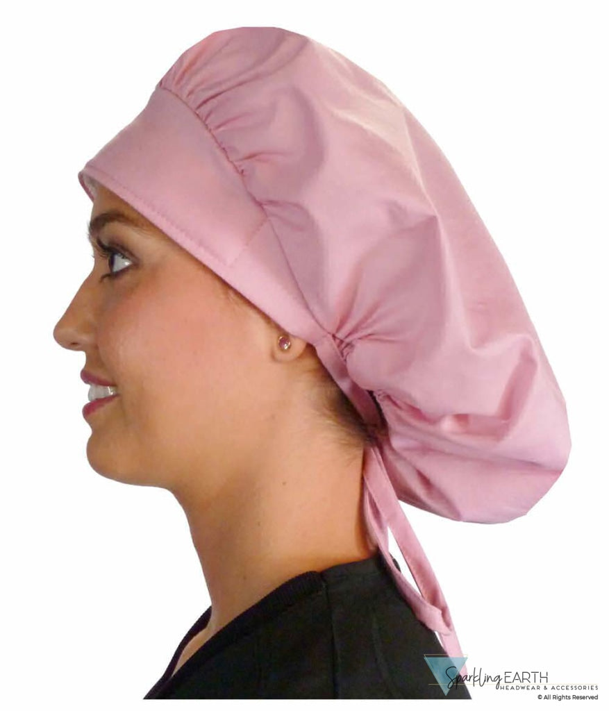Banded Bouffant Surgical Scrub Cap - Solid Dusty Rose Caps