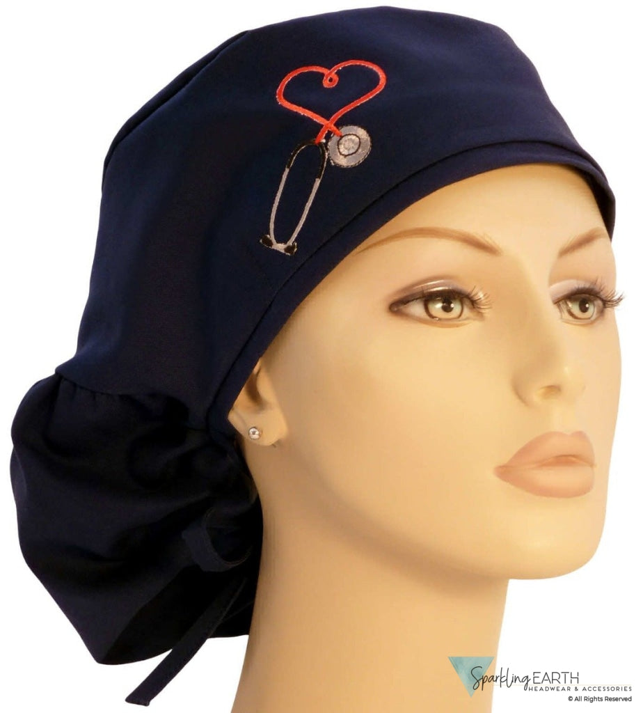 Big Hair-Heart Stethoscope Patch On Navy New Arrivals