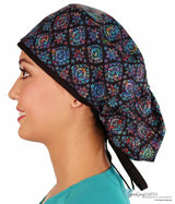 Big Hair Surgical Cap - Stained Glass Medallions With Black Ties Scrub Caps