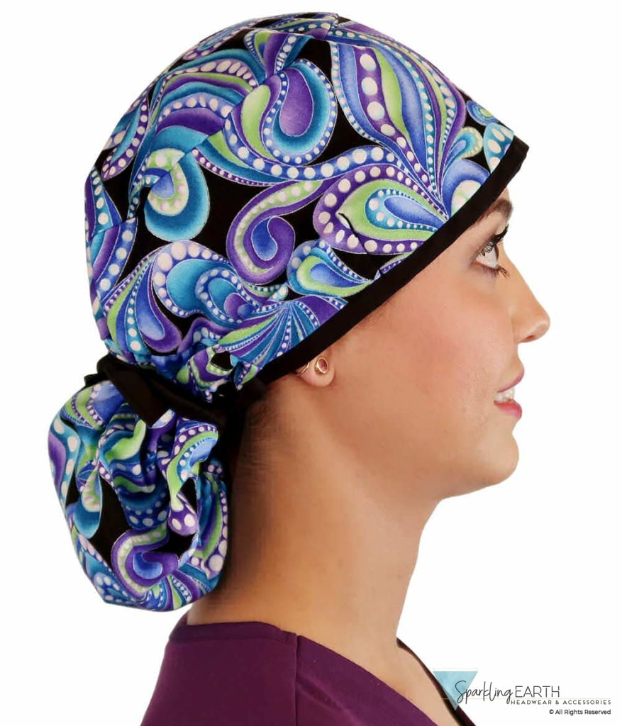 Big Hair Surgical Scrub Cap - Giant Paisley Purple Blue & Green Caps