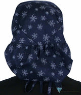 Big Hair Surgical Scrub Cap - Snowflakes On Navy Caps