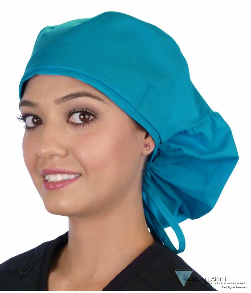 Big Hair Surgical Scrub Cap - Solid Turquoise Caps
