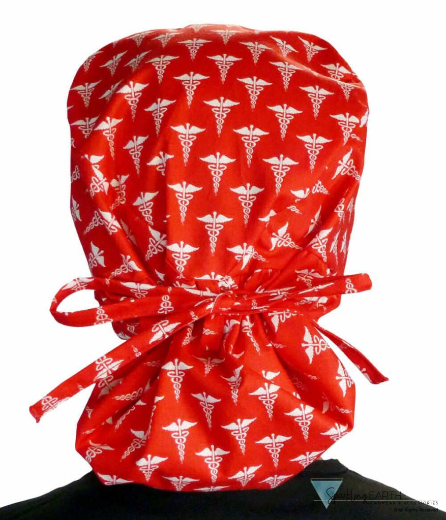 Big Hair Surgical Scrub Cap - White Caduceus On Red Caps