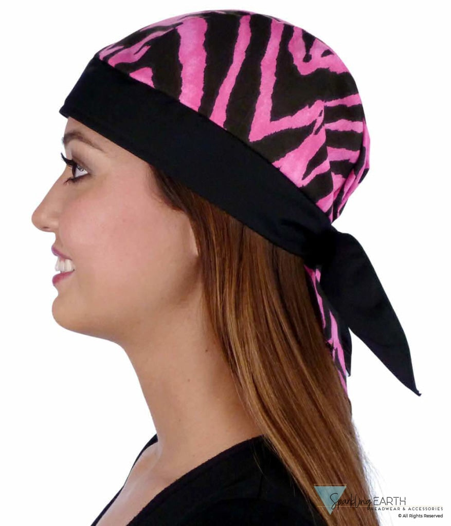 Classic Skull Cap - Hot Pink Wild Stripes With Black Band Caps