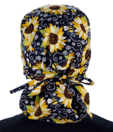 Big Hair Surgical Scrub Cap -  Sunflowers on Black