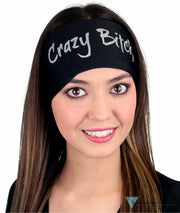 Embellished Stretch Headband - Glitter Silver Multi Colored Crazy Bitch Headbands