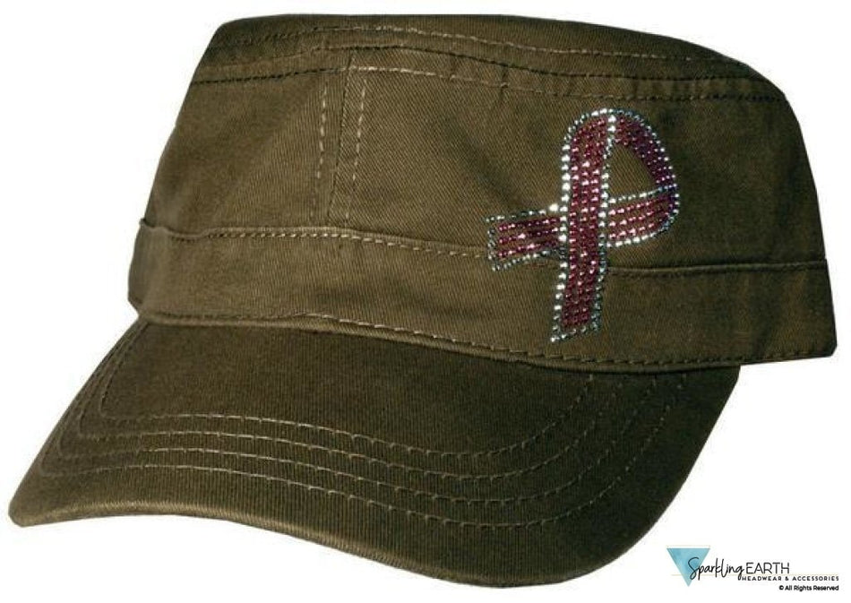 Rhinestud Cadet Cap - Pink Ribbon On Olive Green Other