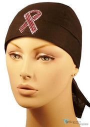 Rhinestud Skull Cap-Single Pink Ribbon On Blk Band Headwear For Hair Loss (Cancer & Awareness)