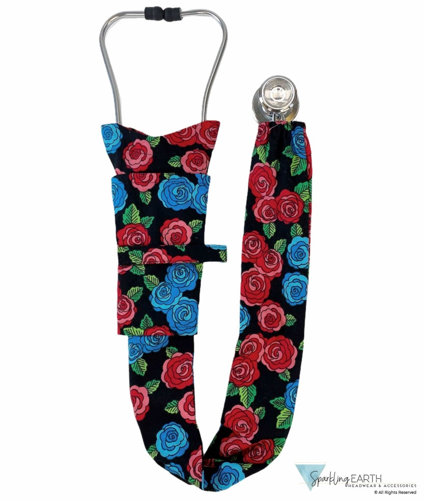 Stethoscope Cover - Blue & Red Roses Covers