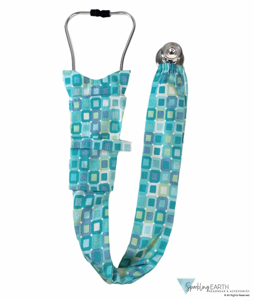 Stethoscope Cover - Teal Squares Covers