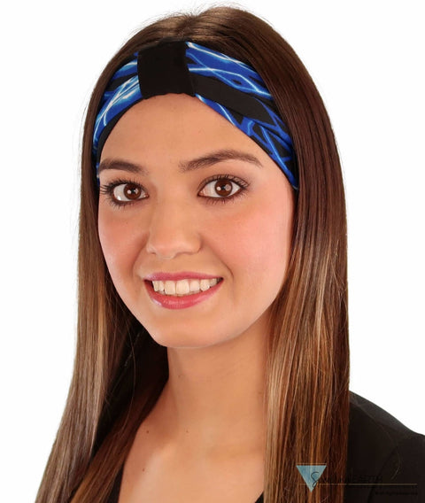 Stretch Headband - Blue Lightning On Black Headbands