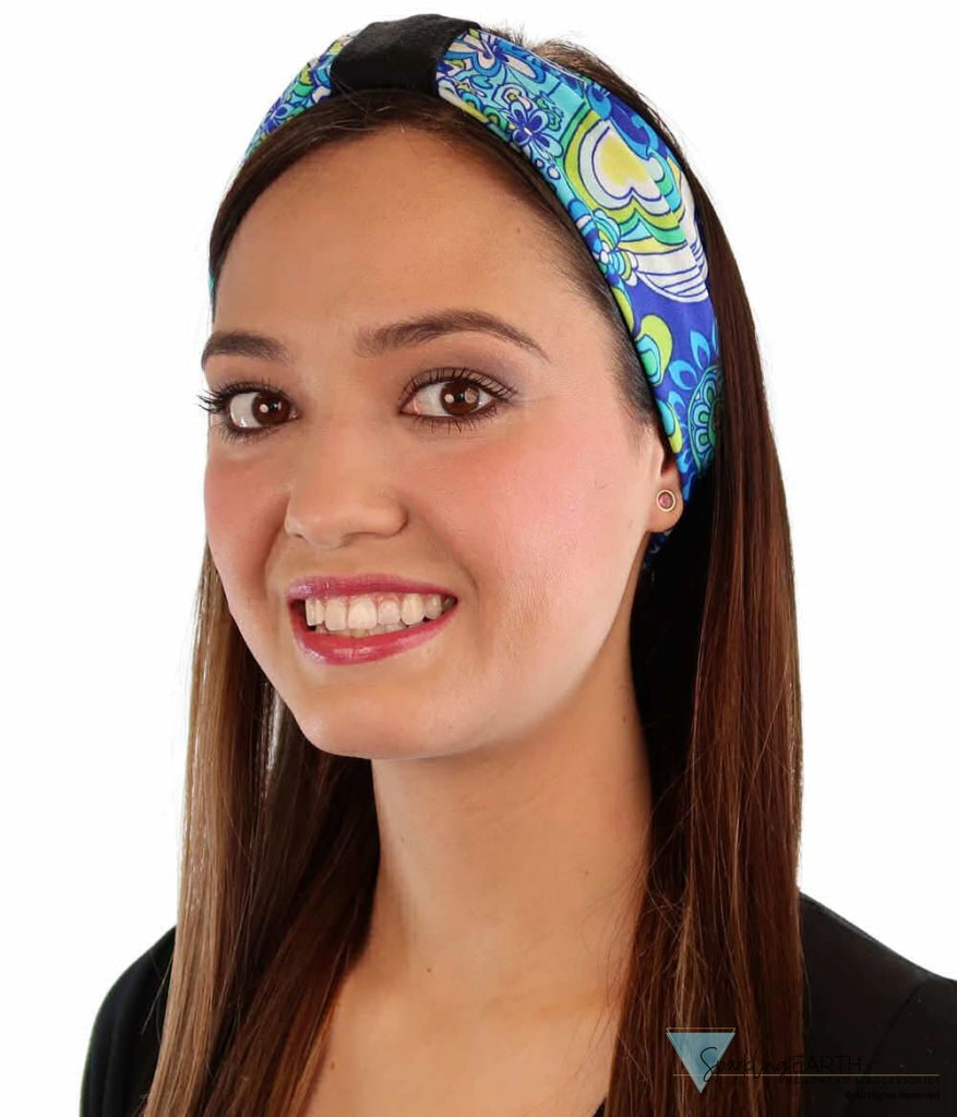 Stretch Headband - Flower Power Blues Headbands
